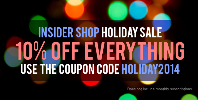 Insider Shop 2014 Holiday Sale, 10% Off Everything